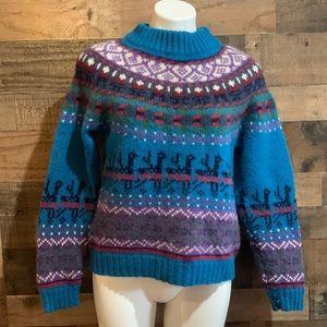 Vintage Woolrich Purple Blue Reindeer Funky Nordic Pattern Wool Sweater Medium